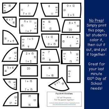 ADDITION 100th Day of School Math Games, Activities, Centers, or Puzzles