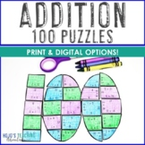 ADDITION Print or Virtual 100th Day of School Math Activities or Games