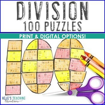 100th Day of School Math Centers: Division Puzzles
