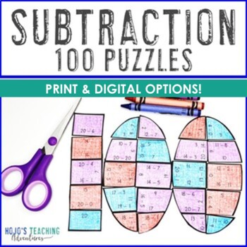 SUBTRACTION 100th Day of School Math Centers, Games, Activities, or Puzzles