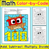100th Day of School Math Coloring Page - Add, Subtract, Multiply or Divide