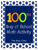 100th Day of School Math Coloring Activity