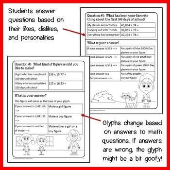100th Day of School Math Goofy Glyph (6th Grade Common Core)