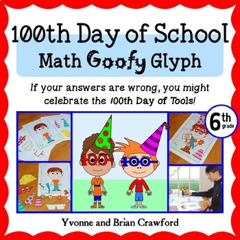 100th Day of School Math Goofy Glyph (6th Grade Common Core)