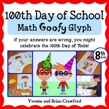 100th Day of School Math Goofy Glyph (8th Grade Common Core)