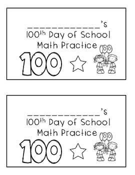 100th Day of School Math Mini Practice Book