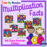 100th Day of School Math: Multiplication Color By Number