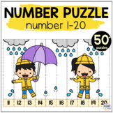 100th Day of School Math Number Puzzles 1 to 100