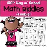 100th Day of School Math Riddle FREEBIE