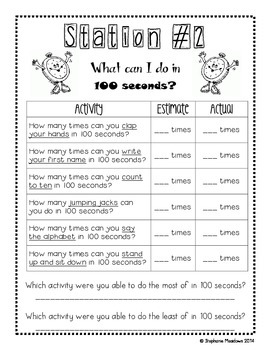 100th Day of School Math Stations