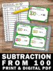 100th Day of School, Subtraction Task Cards, 2nd Grade Math Review Games