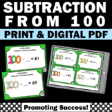 100th Day Math Activities & Games Subtraction Task Cards, 2nd Grade Math Centers