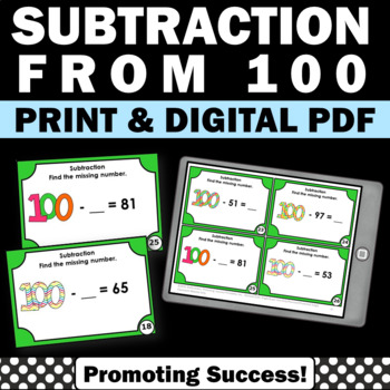 100th Day of School, 2nd Grade Subtracting from 100 Task Cards
