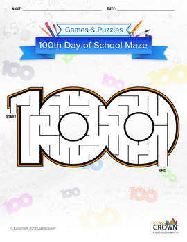 100th Day of School Maze: Easy Difficulty