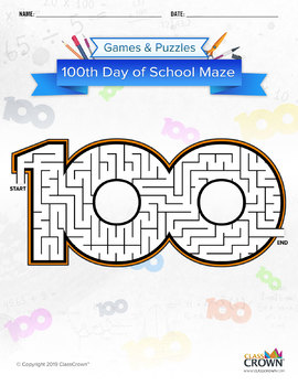 100th Day of School Maze: Medium Difficulty
