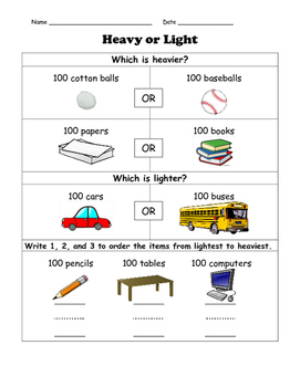100th Day of School Measurement: Heavy or Light