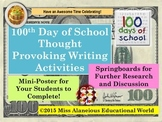 100th Day of School Mini Poster with Writing Activities!
