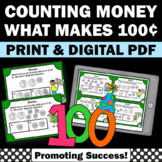 Counting Money Task Cards, Dollars and Cents, 100th Day of School Math Games