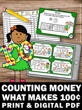 100th Day of School Activities, Counting Money Task Cards, Dollars and Cents
