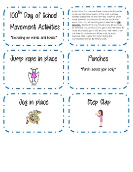 100th Day of School Movement Cards