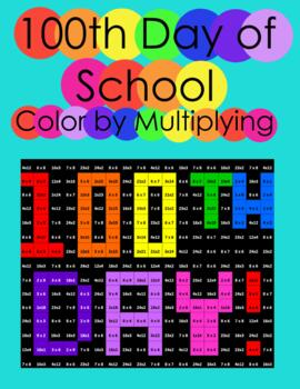 100th Day of School Multiplication Color by Number
