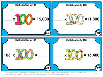 Multiplication Task Cards, 100th Day of School, 3rd Grade Math Review Games