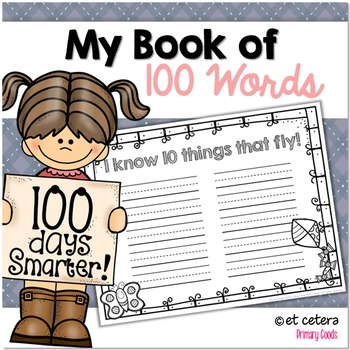 100th Day of School ~ 100 Words Book