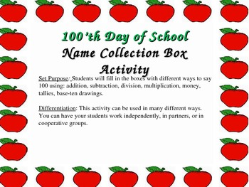 100'th Day of School - Name Collection Boxes Activity