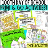 100th Day of School No Prep Activities for Kindergarten Fi