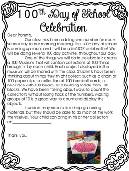 100th Day of School Note to Parents
