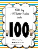 100th Day of School Number Practice Sheets