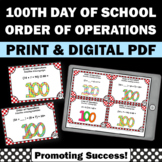 100th Day of School Math Activities Order of Operations Ta