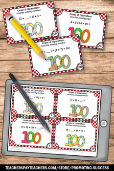 Order of Operations Task Cards, 100th Day of School Math Games & Activities