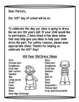 100th Day of School Parent Letter