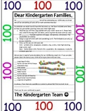 100th Day of School Parent Letter EDITABLE