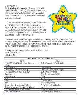 100th Day of School Parent Letter *student project idea and dress up like 100