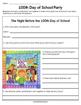 100th Day of School Party Worksheet