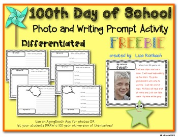 100th Day of School Photo and Writing Activity for beginning writers FREE