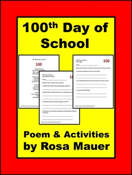 100th Day of School Poem and Comprehension Packet