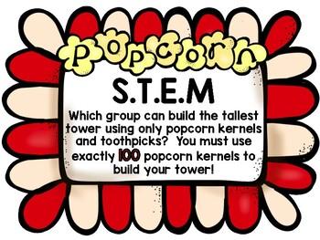 100th Day of School Popcorn STEM (Free)