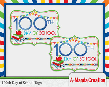 100th Day of School Printable Tags