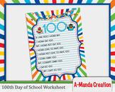 100th Day of School Printable Worksheet