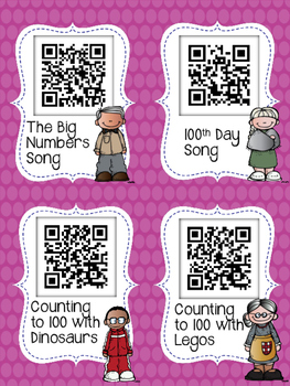 100th Day of School QR Codes for Your Daily Five Listen to Reading Center