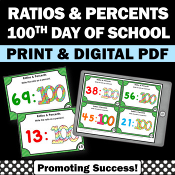 Converting Ratios to Percents Task Cards, 100th Day of Sch