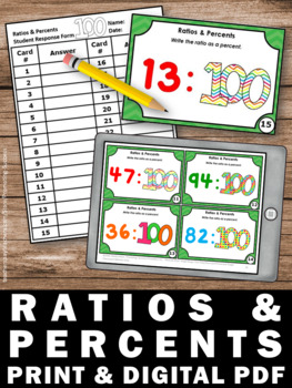 Ratio Task Cards, 100th Day of School Math Activities