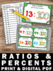Ratios and Percents Task Cards, 100th Day of School Math Activities