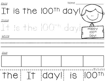 100th Day of School Read-Trace-Write-Glue Sentences {FREEBIE}