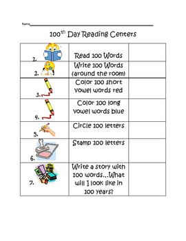 100th Day of School Reading Station Ideas