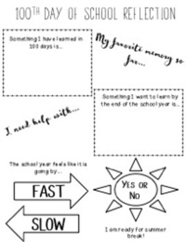 100th Day of School Reflection - FREEBIE