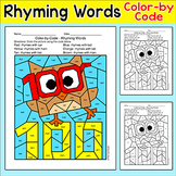 100th Day of School CVC Rhyming Words Color by Code Owl Picture